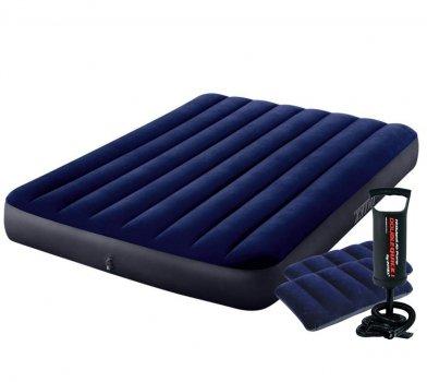 Полуторный надувной матрас Intex 64758-2 Classic Downy с двумя подушками и ручным насосом 137 x 191 x 25 см Синий (RT-64758-2)
