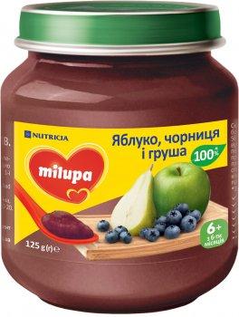 Упаковка пюре Milupa фруктового Яблуко, чорниця, груша для дітей від 6 місяців 125 г х 6 шт. (8591119003973)