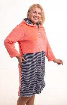 Халат Bonita женский велюровый с капюшоном персиковый с черно-белым