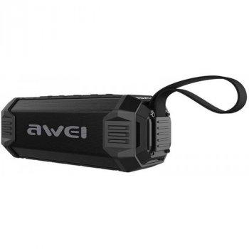Портативна вологозахищена Bluetooth колонка з ремінцем для перенесення Awei Y280 New Line Чорний (2-КП124)