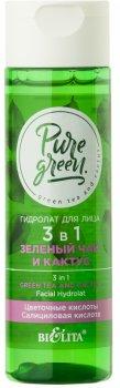 Гідролат для обличчя Bielita Pure Green 3 в 1 Зелений чай і кактус 115 мл (4810151026608)