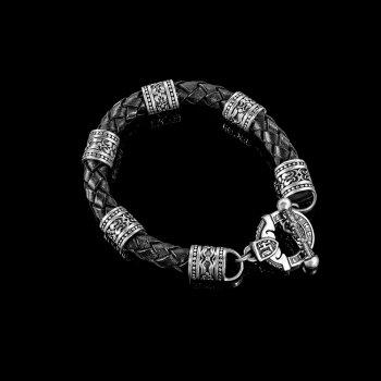 Браслет Lions Heart из кожи и серебра (Браслет из кожи 18)