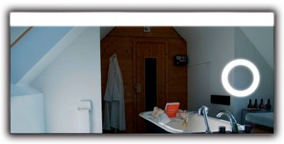 Зеркало J-MIRROR Diana 70х100 LED + линза c подсветкой + Bluetooth-акустика