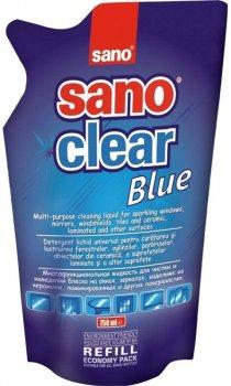 Засіб для миття скла Sano Clear Blue 750 мл (запасний блок) (7290012117275)