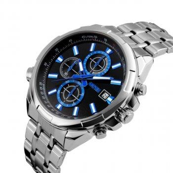 Мужские часы Skmei 9107 Silver Black Dail BOX (9107BOXSBK)