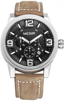 Мужские часы Megir Silver Black Brown MG3010 (ML3010GBN-1)