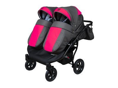 Дитяча коляска для двійні 2 в 1 Angelina Viper Duo Smart графіто-рожева 14