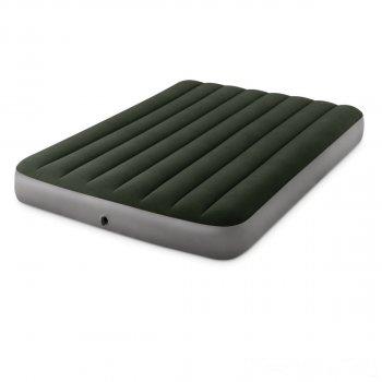 Надувной матрас Intex 64762 Pillow Rest Classic со встроенным ножным насосом полуторный (137х191х25) зеленый (in-64762)