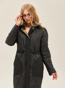 Пальто Mila Nova ПВ-140 Черное с леопардовым