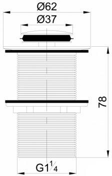 Донный клапан для раковины VOLLE 90-00-037 без перелива черный