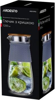 Кувшин с крышкой Ardesto Боросиликатное стекло + силик. рукав + крышка – Нерж. сталь/дерево 1200 мл (AR2612PGS)