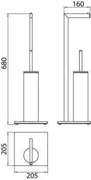 Йоржик для унітаза EMCO Loft 0580 001 01 з паперотримачем