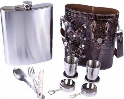Подарочный набор фляга в чехле 2 стопки рюмки столовые приборы вилка нож ложка Arivans 1400 мл коричневый 66-797