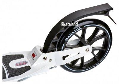 Двоколісний Самокат Maraton Decider White з амортизаторами і ручним гальмом