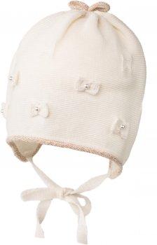 Демисезонная шапка с завязками Jamiks LUCJA-2 42 см Кремовая (5903024102017)