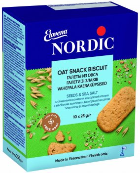 Упаковка галета из овса Nordic с семенами конопли и солью 250 г х 6 шт (6411200211327)