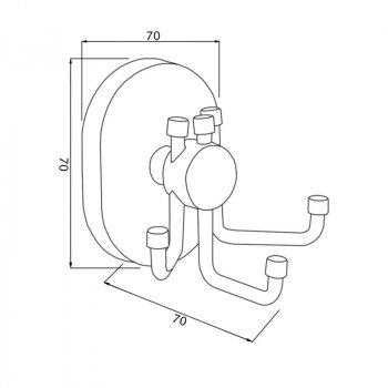 Крючок для ванной Potato P2905-3 тройной настенный