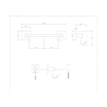 Крючок для ванной GF (CRM)/S-2714-3 настенный