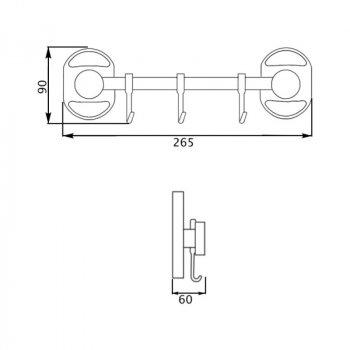 Крючок для ванной Potato P2914-3 тройной настенный