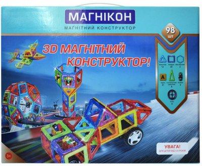 3D магнитный конструктор МАГНІКОН, 98 дет