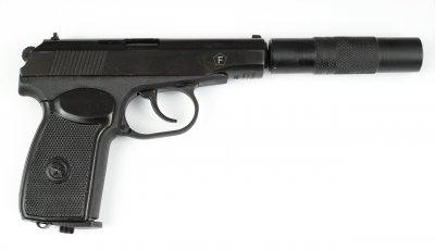 Пневматичний пістолет MP-654К з подовжувачем стовбура (32 серія, чорна рукоятка)