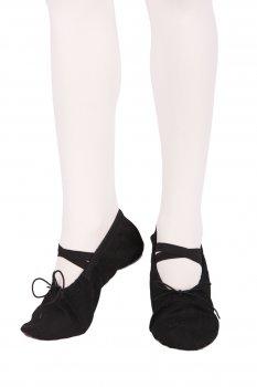 Балетки танцювальні Dance&Sport 021 зі шкіряною підошвою Чорні