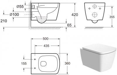 Унітаз підвісний DEVIT Country 2.0 безобідковий зі сидінням Soft Close Quick-Fix дюропласт 3020125