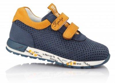 Кроссовки TOPITOP 192 для мальчиков сине-желтые, нубук
