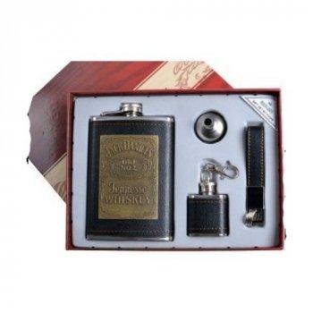 Подарочный набор с флягой в коже 4в1 Jeck Deniels Arivans 265 мл черный 39-927