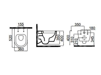 Чаша подвесного унитаза IDEVIT белый/декор серебро Alfa 3104-2616-1201