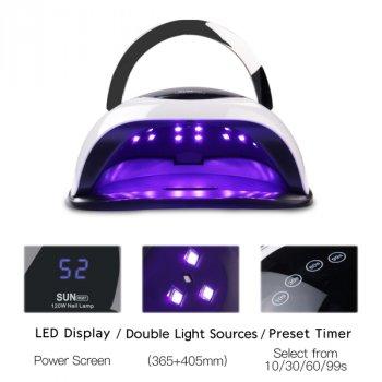 Ультрафиолетовая лампа для сушки ногтей с ручкой SUN BQ-5T 120W LED Lamp Pro UV LED (00625)