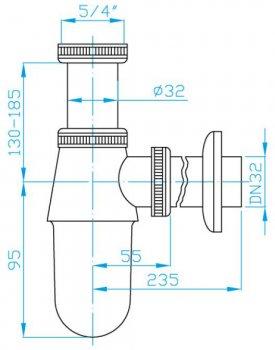"Сифон для раковины PLAST BRNO колбовый 5/4""x32 мм (EMCR001)"
