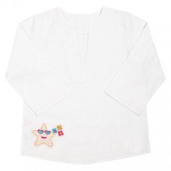 Детская рубашка-сорочка пляжная для девочки Габби белая
