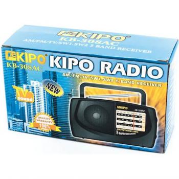 Акумуляторний компактний радіоприймач FM приймач Чорний Kipo (KB-308AC)