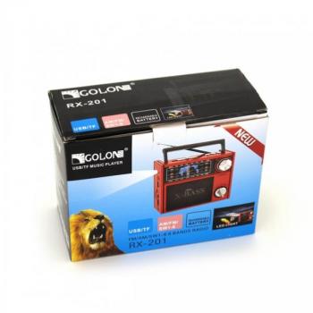 Аудіосистема портативний аккумулуяторный радіоприймач usb sd card радіо з ліхтариком Червоний Golon (RX-201)