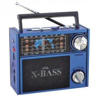 Аудиосистема портативный аккумулуяторный радиоприемник usb sd card радио с фонариком Синий Golon (RX-201)