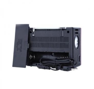Аккумуляторный радиоприемник с солнечной панелью колонка ретро SD USB и Фонарь Красный NNS (NS-1555S)