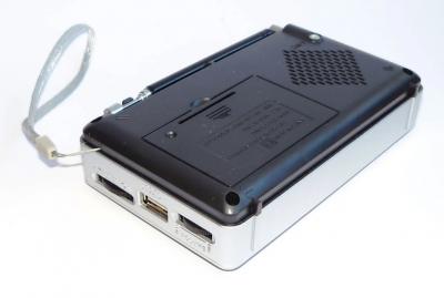 Аккумуляторный портативный радиоприемник FM радио колонка с фонариком и USB выходом Power Bank Черно-серебристый Golon (RX-2277)