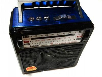 Портативний акумуляторний радіоприймач з USB виходом і ліхтариком Чорно-синій Golon (RX-1405)