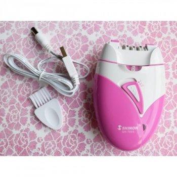 Жіночий епілятор Shinon SH-7803 White/Pink акумуляторний, світлодіодна підсвітка, USB-зарядка, епіляція бікіні рук ніг, пахв і особи (46624 IM)