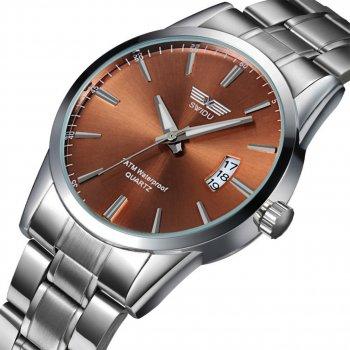 Часы мужские SWIDU SWI-021 Silver + Brown с влагозащищенным корпусом кварцевый механизм нержавеющий корпус