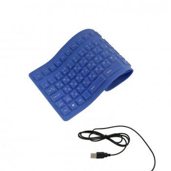 Силиконовая USB - клавиатура синяя Respect (525)