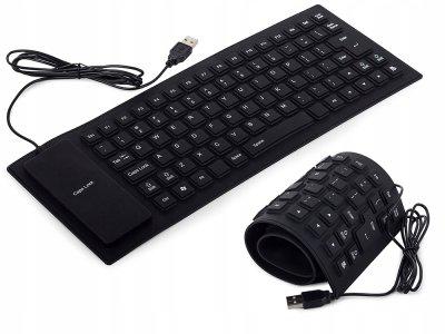 Силиконовая USB - клавиатура черная Respect (574)