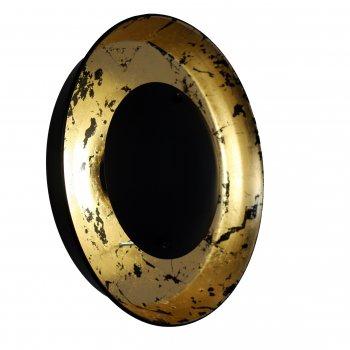 Настінний світильник для вітальні, спальні, передпокої, кафе Solar eclipse 5040 сталь чорний з золотистим PikArt