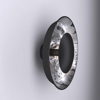 Настінний світильник для вітальні, спальні, передпокої, кафе Solar eclipse 5040-1 сталь чорний з сріблястим PikArt
