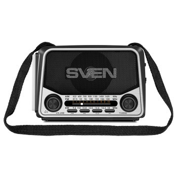 Портативний радіоприймач SVEN SRP-525 (grey) 3Вт, Li-Ion акумулятор, USB, microSD,FM (23592)