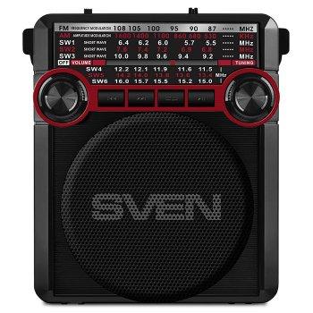 Портативний радіоприймач SVEN SRP-355 (red) 3Вт, Li-Ion акумулятор, USB, microSD,SD,FM, джек 3,5 мм (22351)