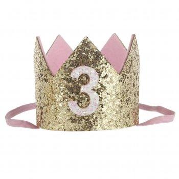 Корона для дня рождения 3 года золотая PDN13191