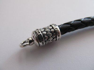 Браслет из серебра 925° и плетеной кожи на руку SilverArtisan 0.0051-8 размер 21,5
