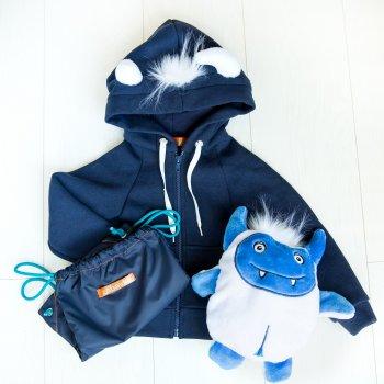 Детская кофта-игрушка Zabavka Йети с капюшоном и рюкзаком демисезонная цвет синий